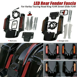 Rear Fender Extension Fascia LED Light For 14-18 Harley Touring Road King Glide