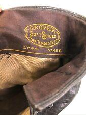 "Antique Victorian Edwardian black leather button  ankle shoes / boots 10"" long"