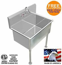 "HAND WASHING SINK 36""X24""X15""DEEP BIG TUB HEAVY DUTY STAINLESS STEEL MADE IN USA"