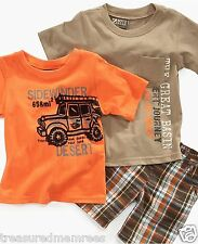 Nannette Boyz Wear 3 Piece Rugged Desert Shirts & Shorts Set ~ 12 M ~ MSRP $36