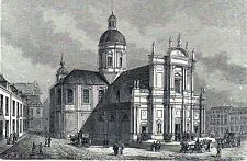 Antique woodcut print church kerk st. Aubin te Namen ,gravure Namur 1882