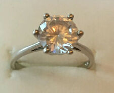 Sterling Silver Solitaire Ring - Clear Stone Ring - Size M - Wear Not Scrap