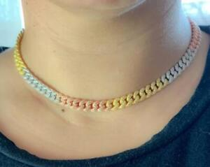 925 Solid Silver Tri Color Pave Cuban Adjustable Choker Necklace