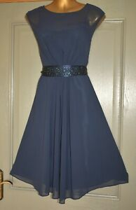 COAST NAVY BLUE JEWEL FORMAL OCCASION SUMMER WEDDING PARTY DRESS SIZE 12