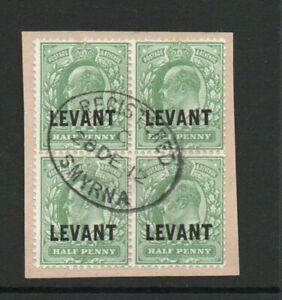 BRITISH LEVANT SG L 11 1912 HARRISON PRINTING BLOCK X 4 FINE USED