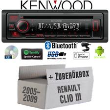 Kenwood Autoradio für Renault Clio 3 Bluetooth Spotify CD/MP3/USB Einbauzubehör