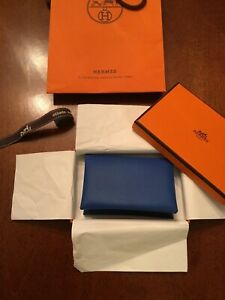 HERMES $695 CALVI CARD HOLDER BLUE EPSOM LEATHER NEWIBOX FRANCE