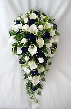 WEDDING PACKAGE, BRIDES BOUQUET, POSIES, WANDS, NAVY & IVORY, ARTIFICIAL FLOWERS