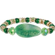 New Dyed Green Agate Rhinestone Rondel Gold Tone Stretch Bracelet to Layer