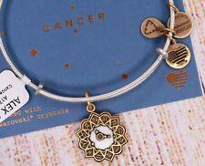 NEW Alex and Ani Cancer Zodiac Charm Two Tone Gold Silver Bracelet W/Card
