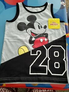 NWT BOY'S - SIZE 5T - DISNEY MICKEY MOUSE TANK TOP - GRAY & BLACK