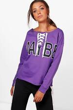 Boohoo Tall Olivia Lacets Slogan Sweat violet taille L LF171 KK 09