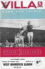 Football Programme>ASTON VILLA v WEST BROMWICH ALBION Nov 1966