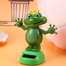 Frog Prince With Crown Bobble Head Solar Power Toys Office Desk Home Car Decor
