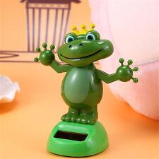 Frog Prince With Crown Bobble Head Solar Power Toys Office Desk Home Car Decor