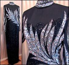 Vintage Custom Beaded Dress Black Silver Art Deco Prom Halter High Neck Feather