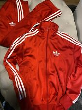 adidas mens track suit Red