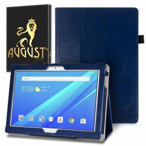 Genuine August Dark Blue Luxury PU Leather Smart Case Cover For Lenovo Tab 4 10