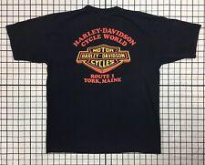 New listing Vintage 80s 3D Emblem Harley Davidson Cycle World t shirt Route 1 York Maine