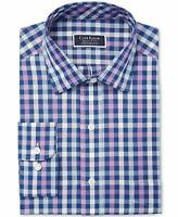Club Room NEW Blue Navy Purple Mens US Size 16 1/2 Gingham Dress Shirt $55 #032