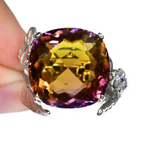MULTI COLOR AMETRINE CUSHION RING SILVER 925 UNHEAT 19.35 CT 18.4X18.4 MM S 6.75