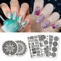5Pcs Nail Stamping Plates Mandala Series Round Rectangle Nail Art Image Template