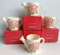 "AVON Ceramic Floral Watering Can 3.5"" In Original Box Set of 4"