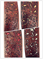 Western Genuine Leather Floral Tooled Laser Cut Mens Long Bifold Wallet