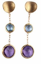 EARRINGS SATIN GOLD 18 Kt / 750 WITH NATURAL AMETHYST AND TOPAZ. MADE IN ITALY