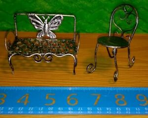 Mini Garden Wire Furniture Butterfly Bench & Chair Doll House Collectible Decor