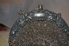 Purse w Chatalaine Clip1900 Silver Frame Round Steel Bead Leather Back  #1099128
