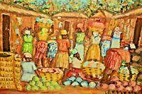 ETIENNE Vintage Impressionist African Village Farm Market Landscape Oil Painting