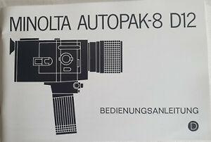 Original Bedienungsanleitung Owner's Manual Minolta Autopak 8 D12 in Deutsch Top
