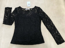 Miss Valley: Size: M. (8-10). Stylish BLACK Silhouette Lace, Body-Lined L/S Top