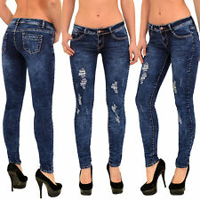 Womens Skinny Jeans Ripped Ladies Pants Cut Out Jeans Destroyed Look J298 UK