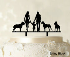 """Custom Family Cake Topper With Dogs Silhouette Wedding Cake Topper-Zae"