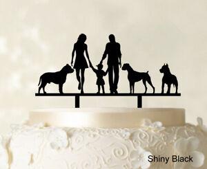 """Custom Family Cake Topper With Dogs Wedding Cake Topper-Zae"