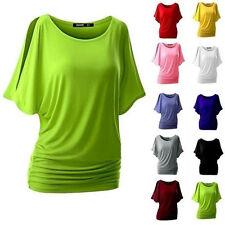 Damen Oversized T-Shirt Shirts Tops Bluse Unifarbe Fledermaus Sommer .34-48 DE