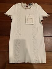 Chanel NWT White Cotton Short Sleeve Sweater Size 40