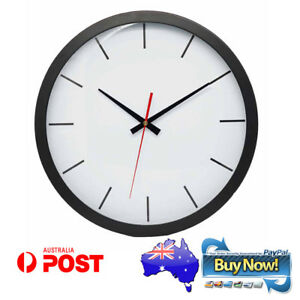 Wall Clock Black White Non Ticking Movement Sweep Quartz Kitchen Office 35cm New