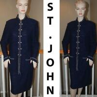 STUNNING ST. JOHN KNIT NAVY BLUE & WHITE  COLLECTION SKIRT SUIT SZ 14 XL