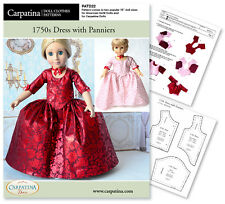 """Outlander Claire Red Dress Pdf Pattern for 18"""" Carpatina & American Girl Dolls"""