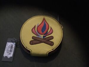 """Fossil Leather Wallet/Coin Purse New w/Tag """"Camp Fire"""" Sewn Zip Around Beauty"""