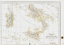 Carte de l'ITALIE DU SUD, Deux Siciles & Sardaigne -1836, 34 x 49 cm. Delamarche