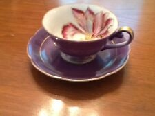 Royal Sealy China Cup & Saucer, Pink/Purple Orchid - Beautiful Gold Trim On Both