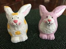 2  Long Eared Bunny Rabbits Easter Figurines  Decor