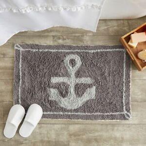 Non-Slip Bathroom Mat for Showers, Nautical Anchor Bath Rug (32 x 20 Inches)