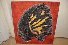 Primitive Hyperspace Shaman Psychedelic Chandra Signed African Batik Art Cloth