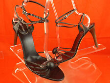 NEW SERGIO ROSSI BLACK STITCHED LEATHER ANKLE STRAP HEEL SANDALS PUMPS 41