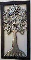 Pannello albero della vita in legno mdf traforato cm 60x30 dip bianco oro argent
